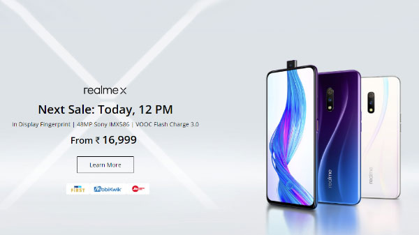 Realme X Sale in India Today at 12pm via Flipkart – Price And Offer