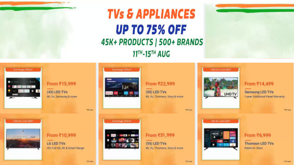 Flipkart Independence Day Sale – Grab Smart TVs At Up To 60% Off