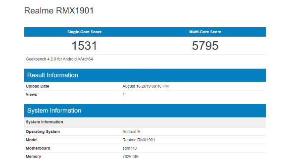 Realme 5 Pro Spotted On Geekbench With Snapdragon 712 SoC And 8GB RAM