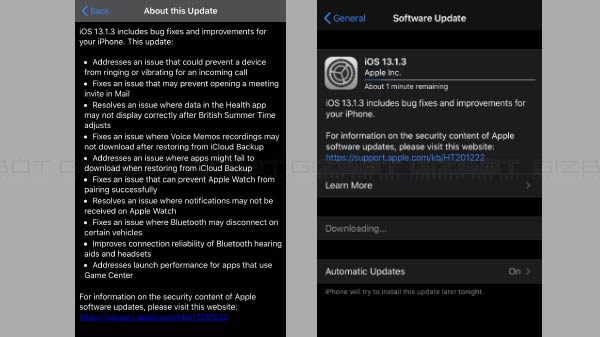 iOS 13.1.3 Update Released For Select iPhones With Major Bug Fixes