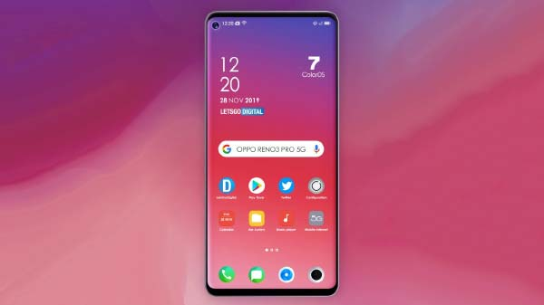 Oppo Reno3 Pro 5G Render Reveals Design Ahead Of Official Launch