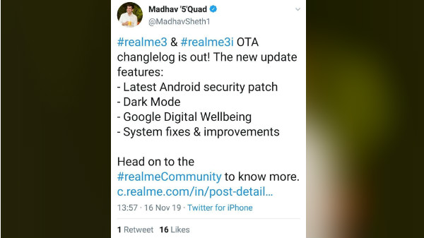 Realme India CEO Tweets Using An iPhone; Deletes Immediately