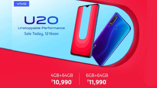 Vivo U20 Set To Go On First Sale At 12 PM Today In India Via Amazon