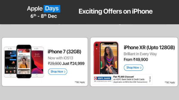 Flipkart Apple Days: Discounts, EMI Offers On iPhone XR, iPhone 11 Pro, iPads And More