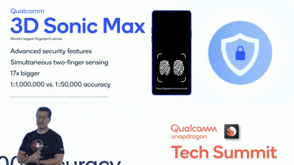 Qualcomm Announces 3D Sonic Max Fingerprint Technology At Tech Summit 2019