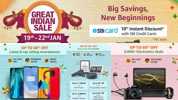 Amazon Great Indian Sale Offers On Electronics And Other Home Products