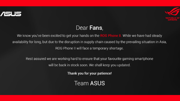 Asus ROG Phone II Goes Out-Of-Stock Possibly Due To Coronavirus
