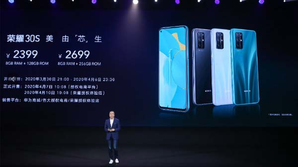 Honor 30S With Latest Kirin 820 5G, Quad-Cameras Launched