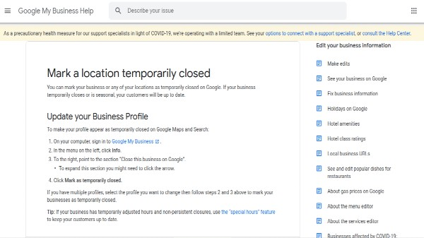 Google Search, Maps Introduces 'Temporarily Closed' Feature