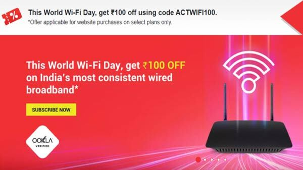 ACT Fibernet Offering Rs. 100 Discount On For Some Broadband Plans