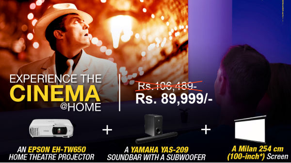 Epson Home Cinema Deal; Projector, Subwoofer, And An 100-inch Screen For Rs. 89,999
