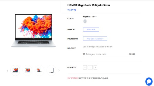 Honor MagicBook 15 Next Sale Date Details