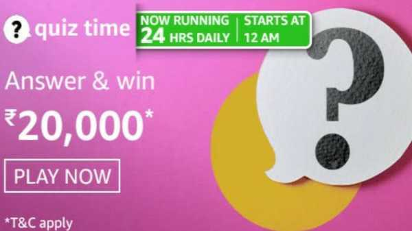 Amazon Quiz Contest Answers For March 5, 2021: Play And Win Rs. 20,000 Amazon Pay Balance