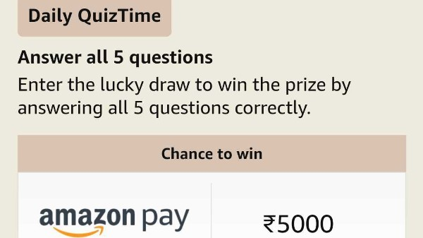 Amazon Quiz Answers For April 5: Play And Win Rs. 5,000