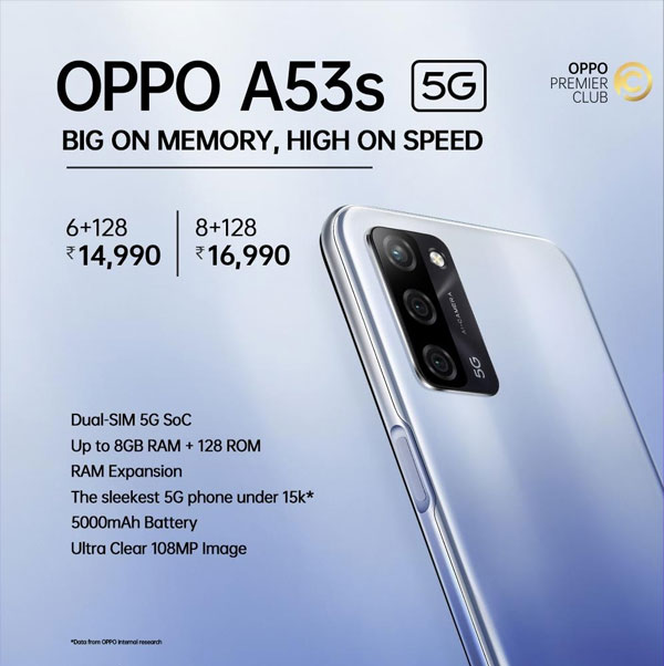 OPPO A53s 5G Marks New Era, most affordable 5G phone with 6GB RAM