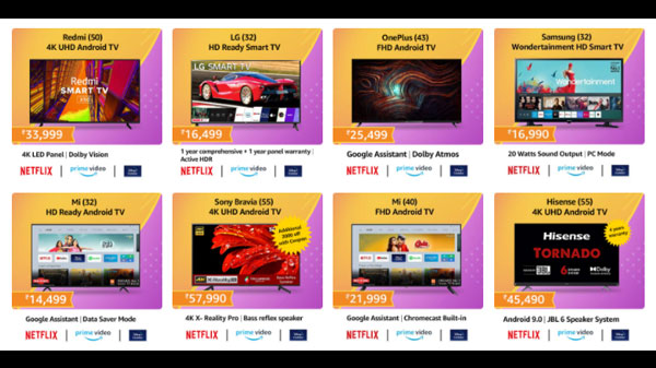 Amazon Sale 50% Off On Smart TVs: Redmi, LG, Sony, OnePlus, Samsung, Mi, TCL, And More TVs