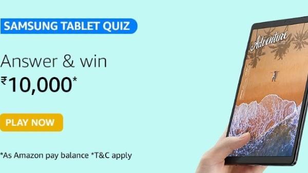 Amazon Samsung Tablet Quiz Answers: Win Rs. 10,000 Amazon Pay Balance