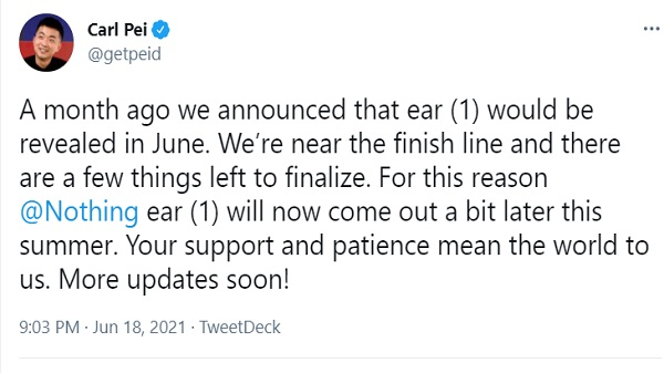 Nothing 'Ear 1' TWS Earbuds Launch Delayed Till Late Summer