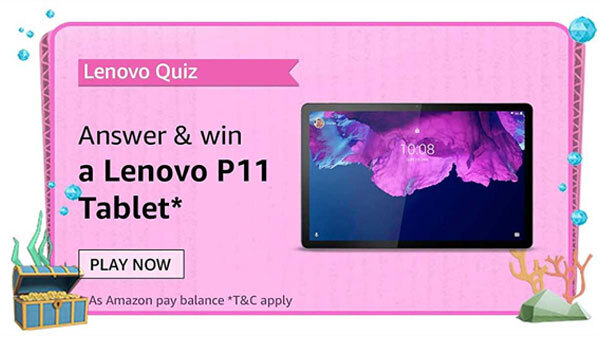 Amazon Lenovo Tablets Quiz Answers: Chance To Win Lenovo Tab P11 For Free