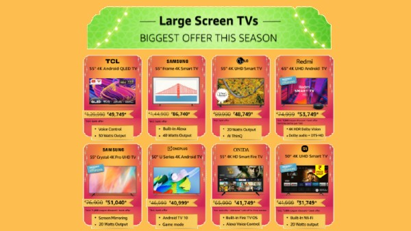 Amazon Great Indian Festival Sale 2021: Up To 60% Discount Offers On Big Screen Smart TVs