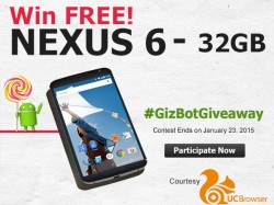 GizBot Giveaway: Win A Google Nexus 6 For Free! Courtesy UC Browser