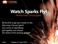 Micromax Invites Are Out: New Canvas Spark Smartphone Coming on April 21
