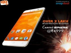 Micromax Sold 50,000 Units of Canvas Spark Within 5 Minutes on Snapdeal
