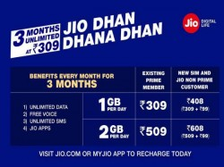 Reliance Jio introduces Dhan Dhana Dhan offer priced from Rs. 309