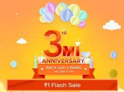 Xiaomi Mi 3rd Anniversary sale in India: Re. 1 flash...