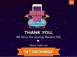 Xiaomi Redmi 5A stocks go dry in the first flash sale, next sale slated for December 14