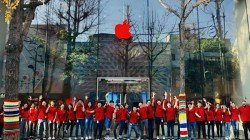 Apple store logos go red around the world for world AIDS day