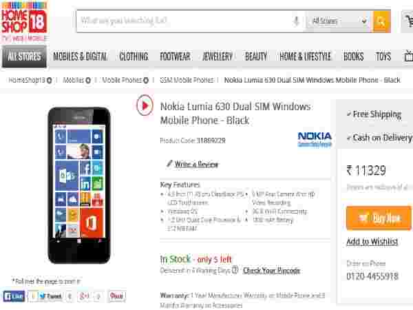 Nokia Lumia 630 Price in India
