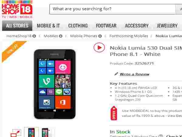Nokia Lumia 530 Now Available in HomeShop18