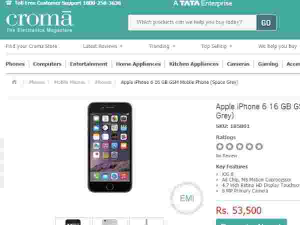 Croma: Apple iPhone 6 16 GB GSM Mobile Phone (Space Grey)