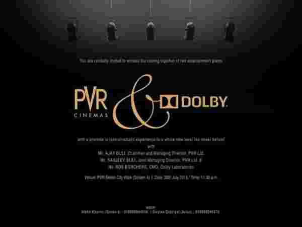 Dolby & PVR cinemas partnership announcement: