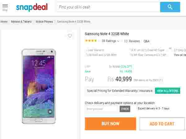 Snapdeal: Samsung Galaxy Note 4 Price