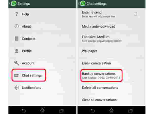 Switch your WhatsApp chat history between phones