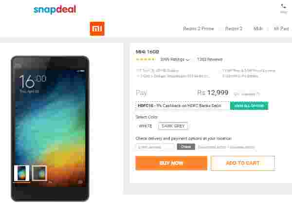 Xiaomi Mi 4i Available in mi.Snapdeal