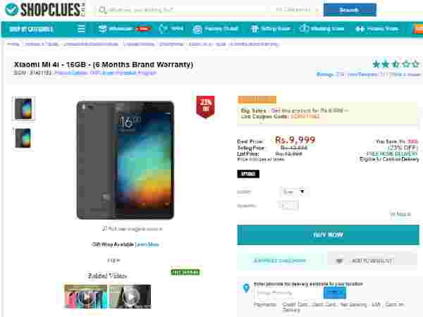 Mi 4i (16GB, White) Available in Shopclues