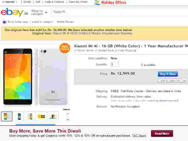 Mi 4i (16GB, White) Available in Ebay