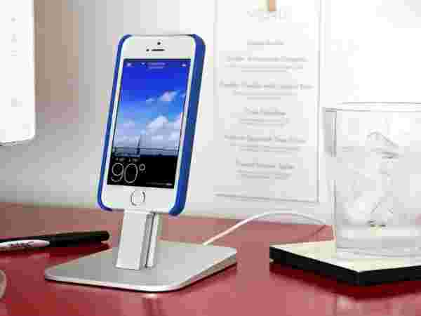 brushed Metal Stand Designed to Work with your Apple Lightning Cable