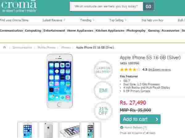 Apple iPhone 5S 16 GB (Silver) Price in Cromaretail store