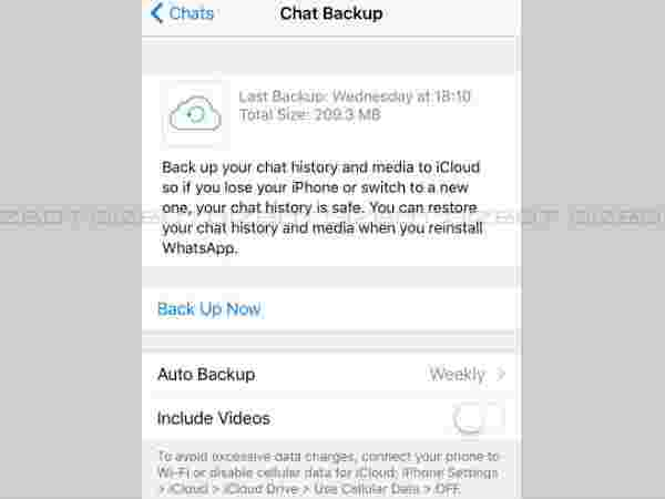 Backup chats and media on the cloud