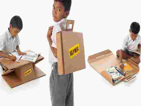 Education – Cardboard Boxes Transformed Into Desks