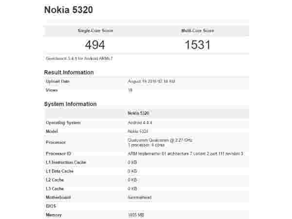 GeekBench Specifications Leak