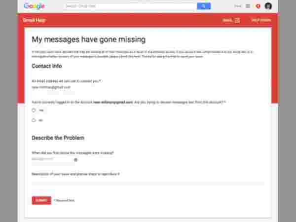 Go to the missing emails support page