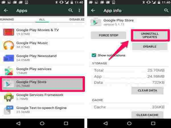 Uninstall all Google Play Store Updates