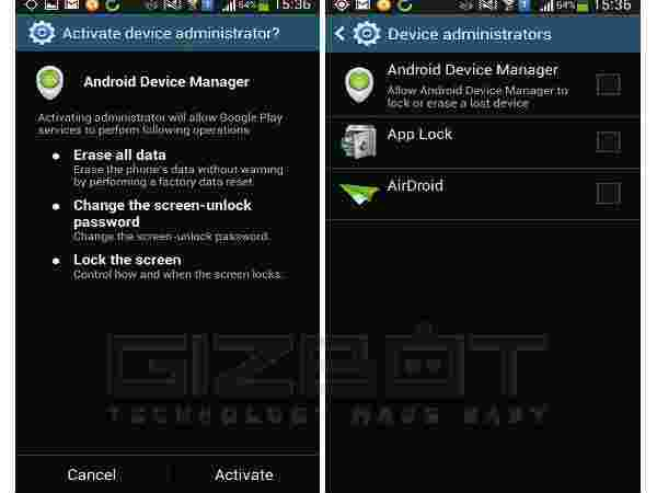Set up Android Device Manager