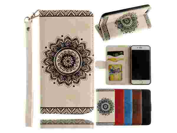 Valentoria Mandragora Flower Premium Vintage Emboss Leather Wallet Pouch Case with Wrist Strap
