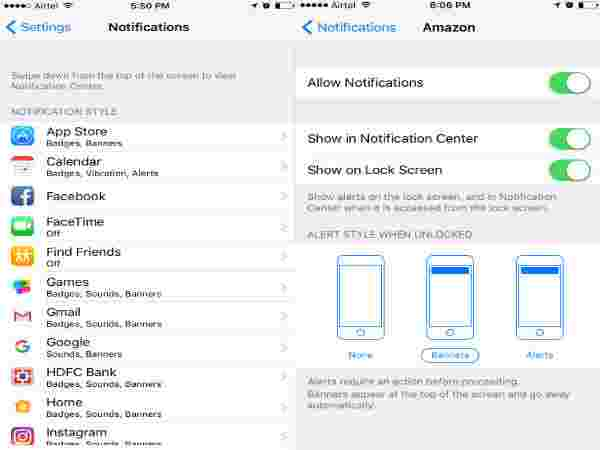 How to disable Notifications from Settings